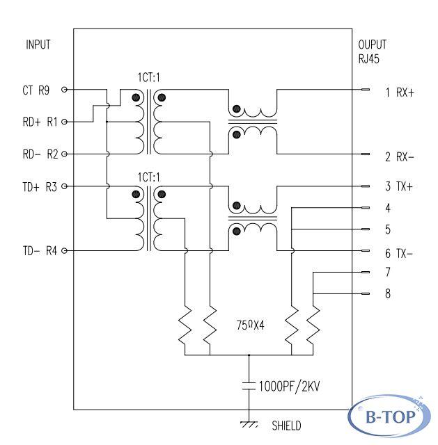 2x6 rj45连接器 集成百兆滤波器 led